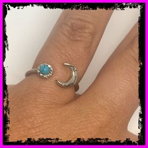 Handmade Sterling Silver Turquoise Moon Ring
